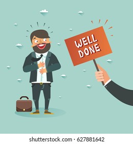 "Happy bearded businessman got ""Well done"" from boss. Happy client concept. Vector colorful illustration in flat design style"