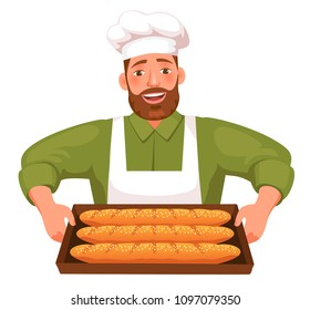 happy bearded chef holding tray of pastries isolated on white background vector illustration
