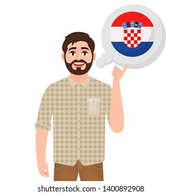Happy bearded man says or thinks about the country of Croatia, European country icon, traveler or tourist vector illustration