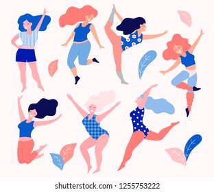 Happy beautiful active plus size girls vector flay illustration. Body positive concept.