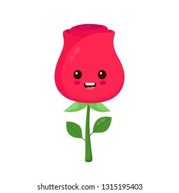 Happy beauty cute smiling funny rose flower character.Vector flat style illustration icon design. Kawaii cartoon character. Isolated on white background. Rose flower character