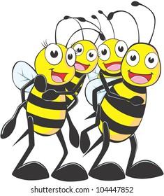 Happy Bee Family Cartoon