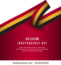 Happy Belgium Independence Day Celebration Poster Vector Template Design Illustration