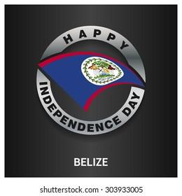 Happy Belize independence day Flag metal badge - National Day silver border - Vector illustration