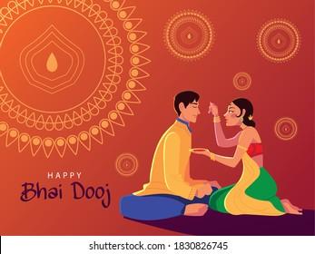 happy bhai dooj with indian man and woman cartoon design, Festival and celebration theme Vector illustration