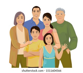 Happy big Asian family together. Fun grandparents, parents and children. Mother, father, grandmother, grandfather, daughter and son are standing and smiling. Isolated vector illustration