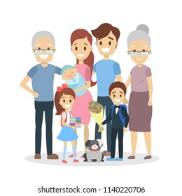 Happy big family portrait. Mom and dad, children and grandparents. Isolated flat vector illustration