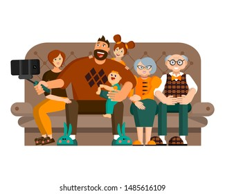 A happy big family spends leisure together. Dad, mom, grandparents and two kids are taking selfie at home on sofa. Dad is holding the smartphone on selfie-stick. Flat vector. Isolated object on white