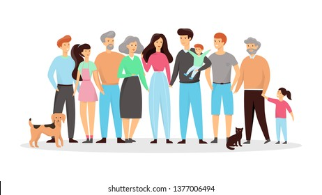Happy big family standing together. Mom and dad, grandchildren and grandfather. Parents and kids. Group of relatives. Vector illustration in cartoon style