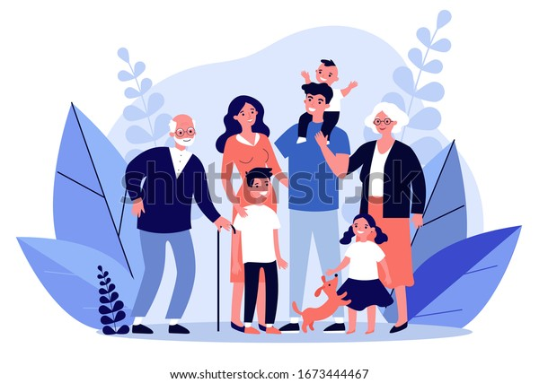 Happy big family standing together flat vector illustration. Grandma, grandpa, mom, dad, children, and pet. Smiling cartoon characters gathering in group.