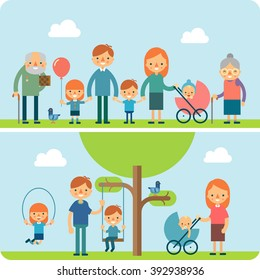 Happy big family walking in the park. Father day, family holiday, daughter and son hold dad hand. Grandfather And Grandmother. Concept of happy family greeting picnic card. Vector illustration