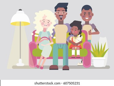Happy big interracial family with two children. Cozy living room interrior