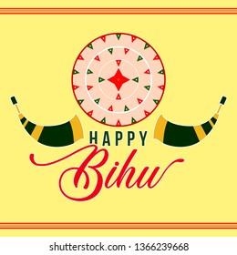 Happy Bihu festival logo, icon, unit for assam, north india, Assamese traditional japi, Assamese culture. - Vector