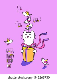 Happy bird day. Birthday greeting card. Funny cat is holding a present box and listening birds. Cute character design. Cartoon hand drawn style. Vector illustration isolated on lilac background.