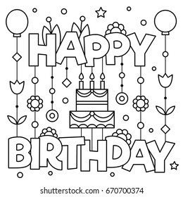 Happy Birhday. Coloring page. Vector illustration.