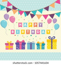 Happy Birhtday Greeting Card. Vector Illustration