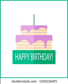 Happy birhtday vector holiday greeting card with creative pink cake