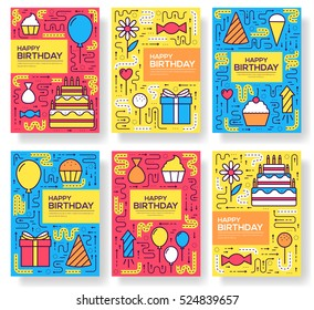 happy birtday party vector brochure cards thin line set. Candy way template of flyear, magazines, posters, book cover, banners. Layout cake outline illustrations modern pages