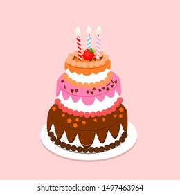 Happy Birth Day cake with candles on pink background vector illustration.