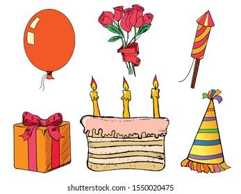 Happy birth day set. Hand drawn, vector images. Present, cake, balloon, flower, hat, fireworks