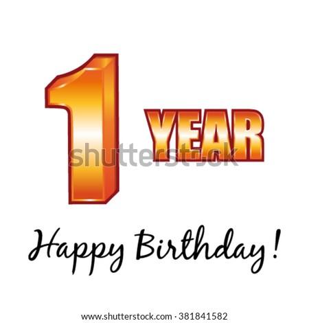 Happy Birthday 1 Year Old Vector Stock Vector Royalty Free