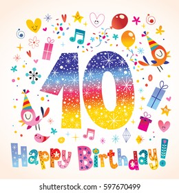 Happy Birthday 10 years greeting card