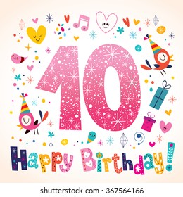Happy Birthday 10 years kids greeting card