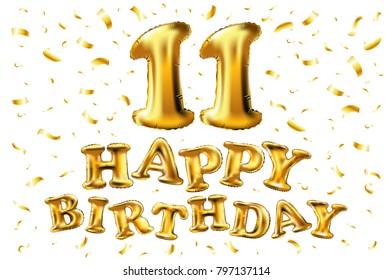 Happy Birthday 11 Years Anniversary Joy Celebration 3d Illustration With Brilliant Gold Balloons Delight
