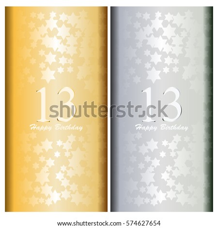 Happy Birthday 13 Years Gold Silver Stock Vector Royalty Free