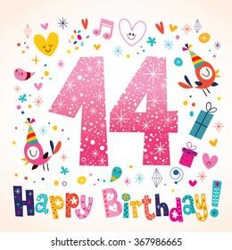 Happy Birthday 14 years kids greeting card