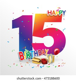 Happy Birthday 15 date , fun celebration greeting card with number, text label and colorful geometry design. EPS10 vector.