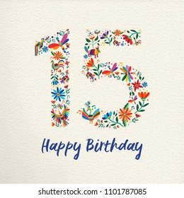 Happy Birthday 15 fifteen years design with number made of colorful spring flowers and animals on paper texture background. Ideal for party invitation or greeting card. EPS10 vector.