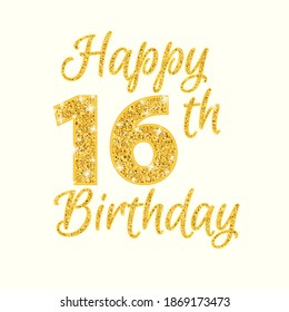 Happy birthday 16th glitter greeting card. Clipart image isolated on white background.