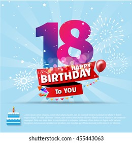 happy birthday 18 date fun celebration greeting card with number text label and colorful