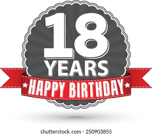 Happy birthday 18 years retro label with red ribbon, vector illustration