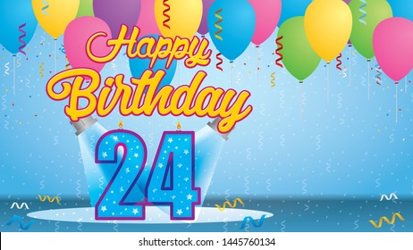 Happy Birthday 24 Greeting card. Blue candle lit in the form of a number being lit by two reflectors in a room with balloons floating with streamers and confetti falling to the floor. Vector image
