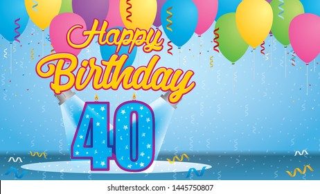 Happy Birthday 40 Greeting card. Blue candle lit in the form of a number being lit by two reflectors in a room with balloons floating with streamers and confetti falling to the floor. Vector image