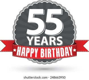 Happy birthday 55 years retro label with red ribbon, vector illustration