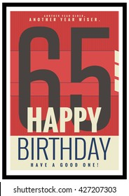 Happy Birthday 65 Year Card / Poster (Vector Illustration)
