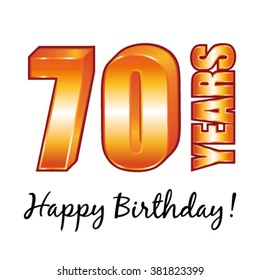 Happy Birthday 70 Years Old Vector Greeting Card