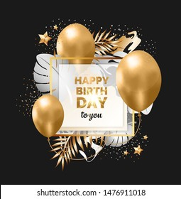 Happy birthday abstract design black and gold frame with tropical leaves, balloons and stars