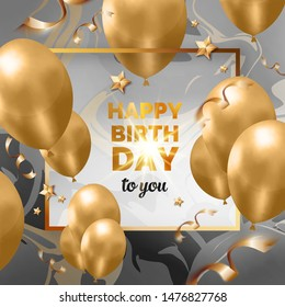 Happy birthday abstract design golden frame with balloons, ribbons, stars