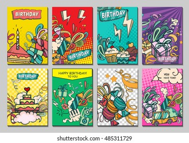 Happy birthday abstract vector illustration. Party and celebration design cards. Illustration of balloon, gifts, fireworks, ribbon, confetti, cake, pie, drinks. ?omics style