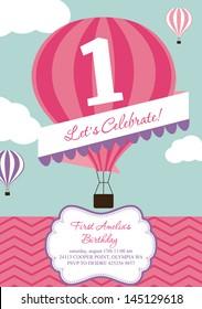 happy birthday air balloon card design. vector illustration