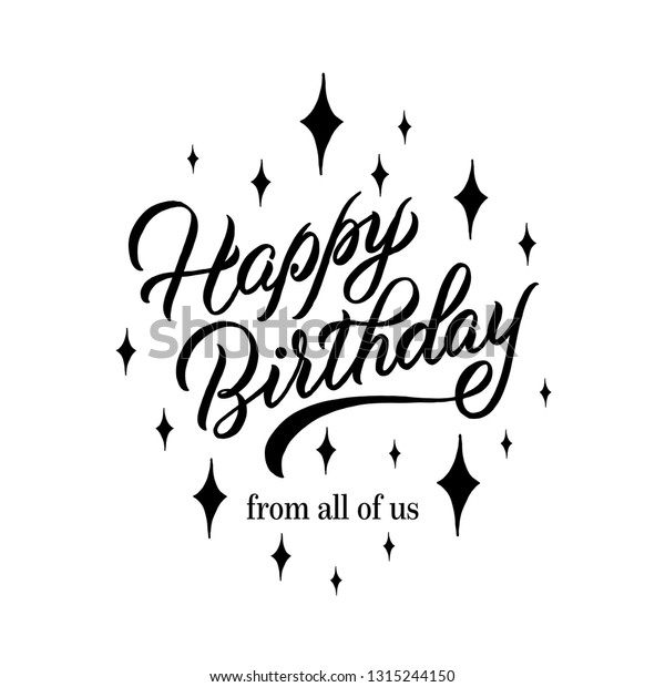 Sensational Happy Birthday All Us Lettering Card Stock Vector Royalty Free Personalised Birthday Cards Bromeletsinfo