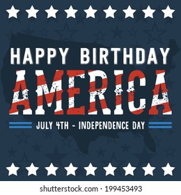 Happy Birthday America - Happy Independence Day Vector - July 4th - Fourth of July Vector - Stars