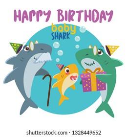 Happy Birthday Baby Shark. Grandpa and Grandma gives a gift present.