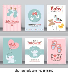 happy birthday, baby shower for newborn celebration greeting and invitation card or note.  there are shoes, elephant, teddy bear, 