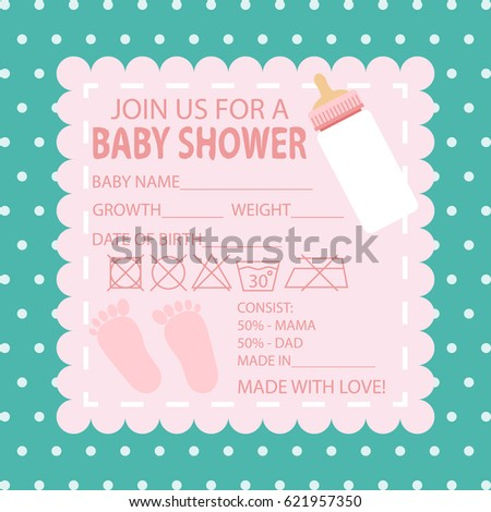 Happy Birthday Baby Shower For Newborn Celebration Greeting And Invitation Card Or Note