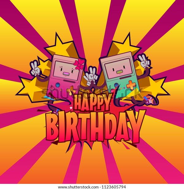 Happy Birthday Background Banner Pop Art Stock Vector